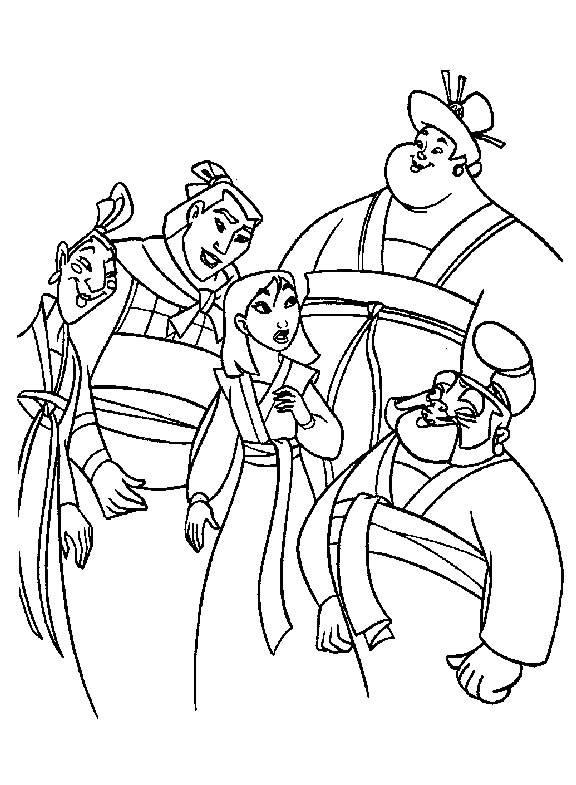 Coloriage et dessins gratuits Mulan surprise par ses amis à imprimer