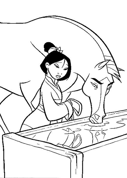 Coloriage et dessins gratuits Mulan triste à imprimer