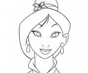 Coloriage et dessins gratuit Mulan visage à imprimer