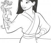 Coloriage et dessins gratuit Mushu et Mulan Disney à imprimer