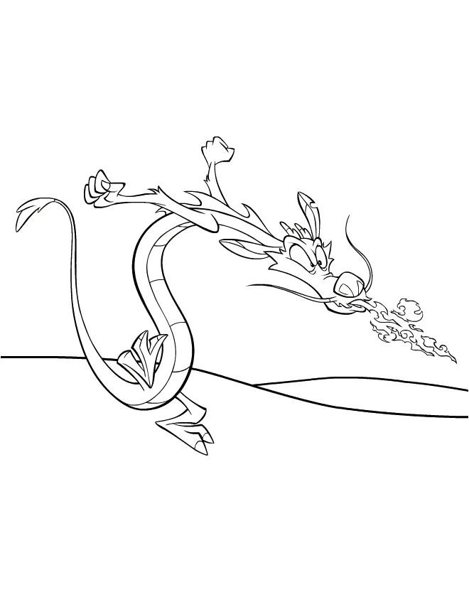 Coloriage et dessins gratuits Mushu souffle des flammes à imprimer