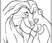 Coloriage dessin  Le roi lion et Nala