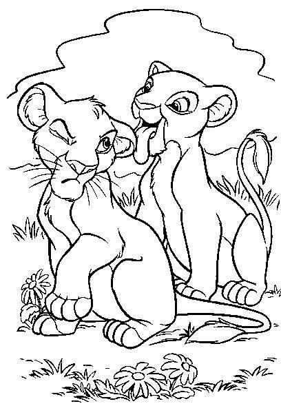Coloriage et dessins gratuits Les petis lions Disney à imprimer