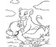Coloriage dessin  Les petits lion disney walt