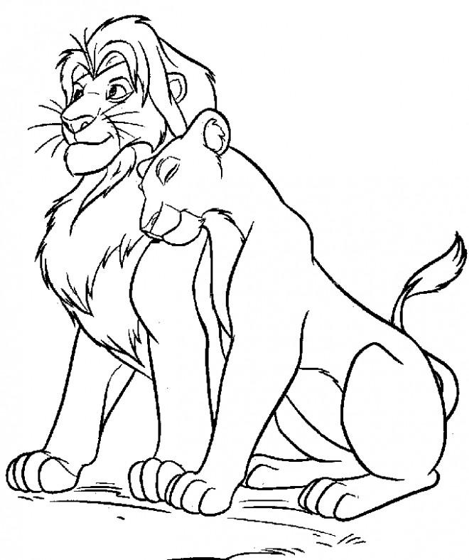 Coloriage et dessins gratuits Nala et le roi lion disney à imprimer
