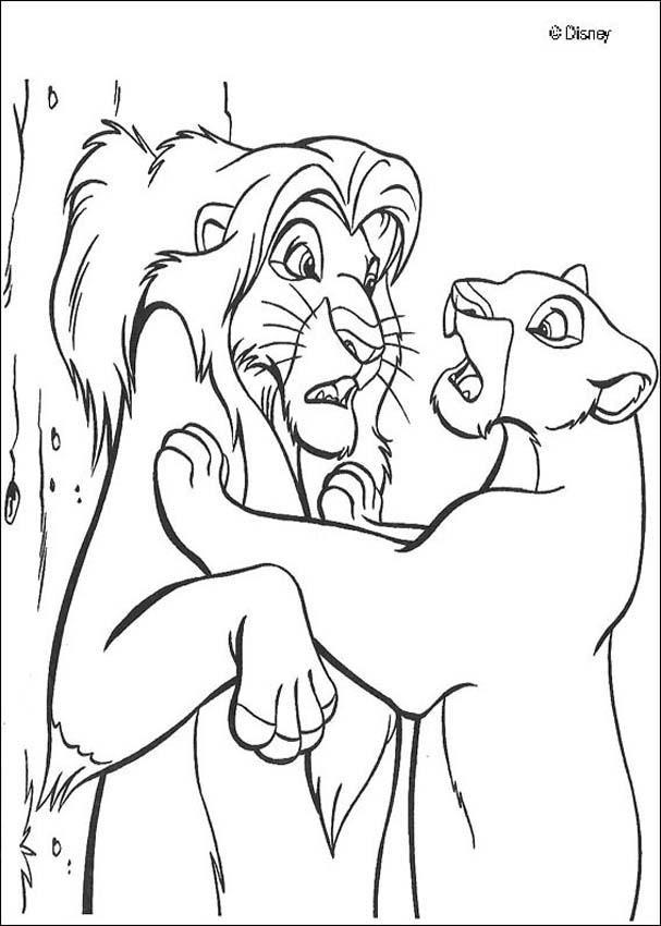 Coloriage et dessins gratuits Nala et le roi lion surpris à imprimer