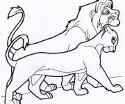 Coloriage dessin  Nala et le roi marchent ensemble