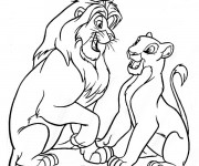 Coloriage et dessins gratuit Nala et Simba s'amusent ensemble à imprimer
