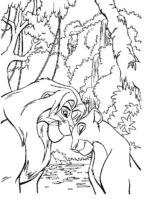 Coloriage nala pr s de la rivi re dessin gratuit imprimer - Simba coloriage ...