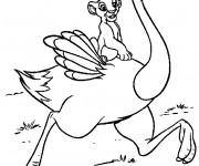Coloriage dessin  Simba sur une autruche