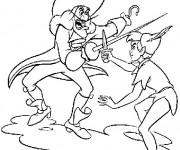 Coloriage Capitaine Crochet se combat avec Peter