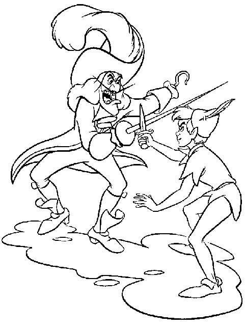 Coloriage et dessins gratuits Capitaine Crochet se combat avec Peter à imprimer