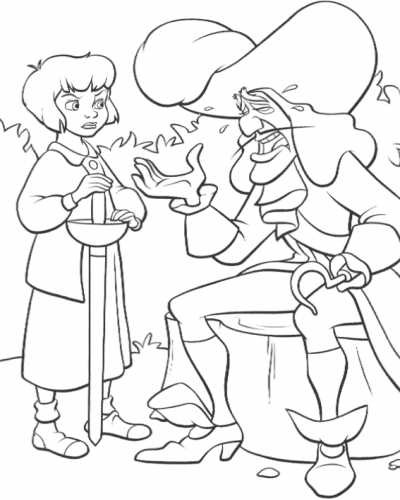 Coloriage et dessins gratuits Capitaine Crochet se lamente à Wendy à imprimer