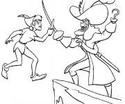 Coloriage Peter Pan combat Capitain Crochet