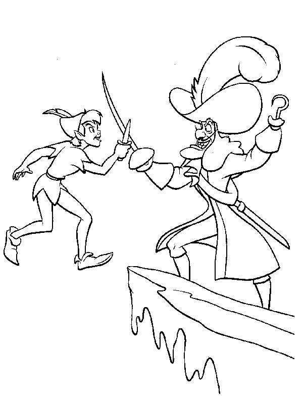 Coloriage et dessins gratuits Peter Pan combat Capitain Crochet à imprimer