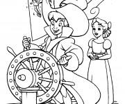 Coloriage Peter Pan conduit le bateau pirate