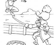 Coloriage Peter Pan dans la bateau pirate