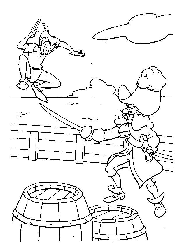 Coloriage Peter Pan Dans La Bateau Pirate Dessin Gratuit A Imprimer