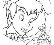 Coloriage Peter Pan discute avec Clochette