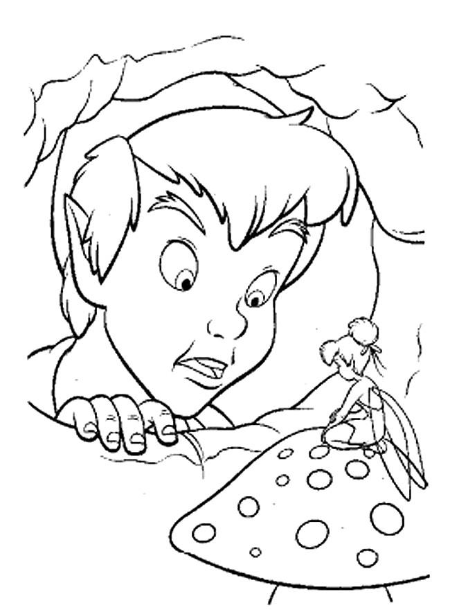 Coloriage et dessins gratuits Peter Pan discute avec Clochette à imprimer