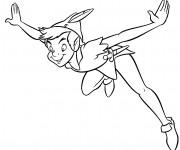 Coloriage et dessins gratuit Peter Pan entrain de voler à imprimer