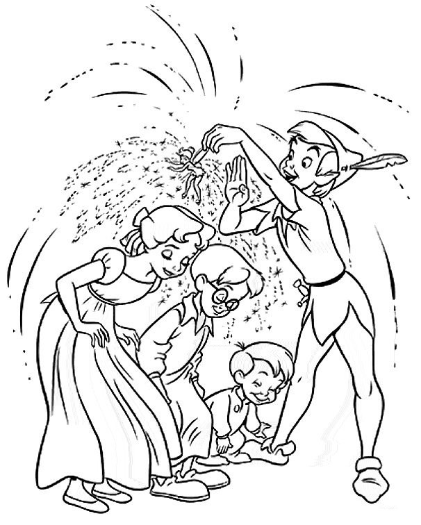 Coloriage et dessins gratuits Peter Pan et les enfants à imprimer