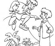 Coloriage Peter Pan parle avec Wendy