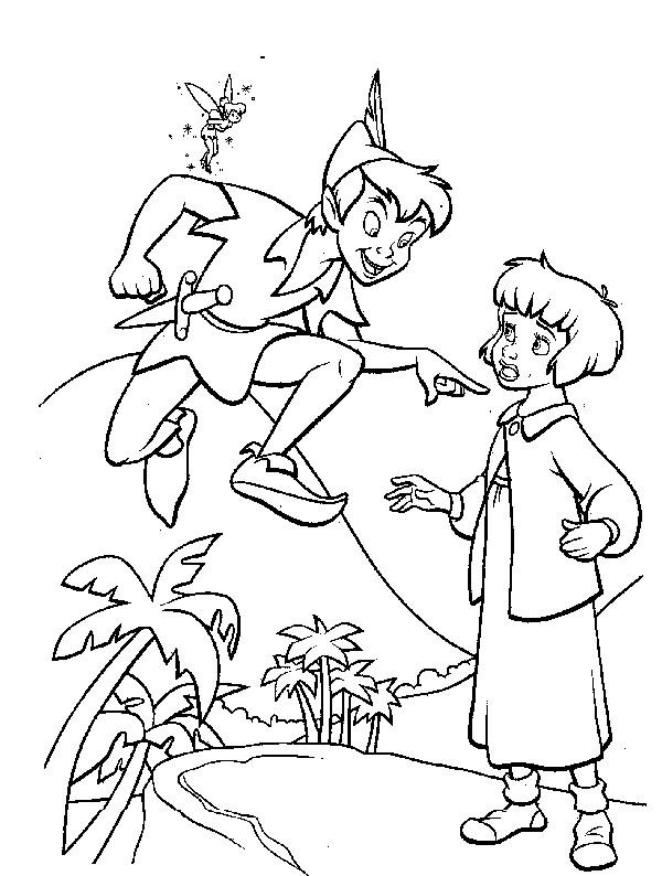 Coloriage et dessins gratuits Peter Pan parle avec Wendy à imprimer