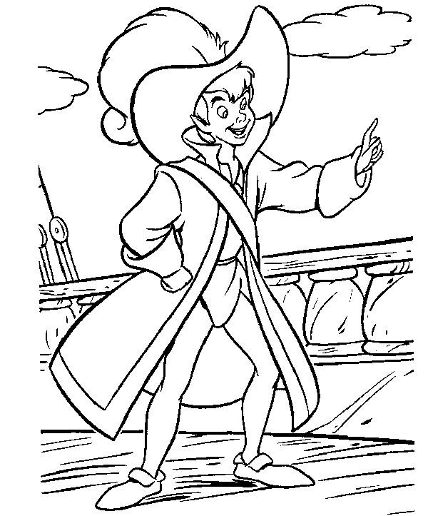 Coloriage et dessins gratuits Peter Pan se déguise Capitain Crochet à imprimer