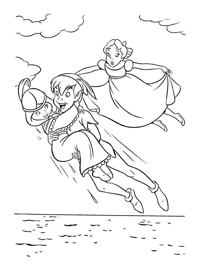 Coloriage et dessins gratuits Peter Pan vole à imprimer