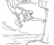 Coloriage Peter Pan vole avec Wendy