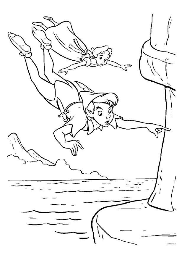 Coloriage et dessins gratuits Peter Pan vole avec Wendy à imprimer