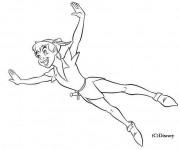 Coloriage Peter Pan vole de joie