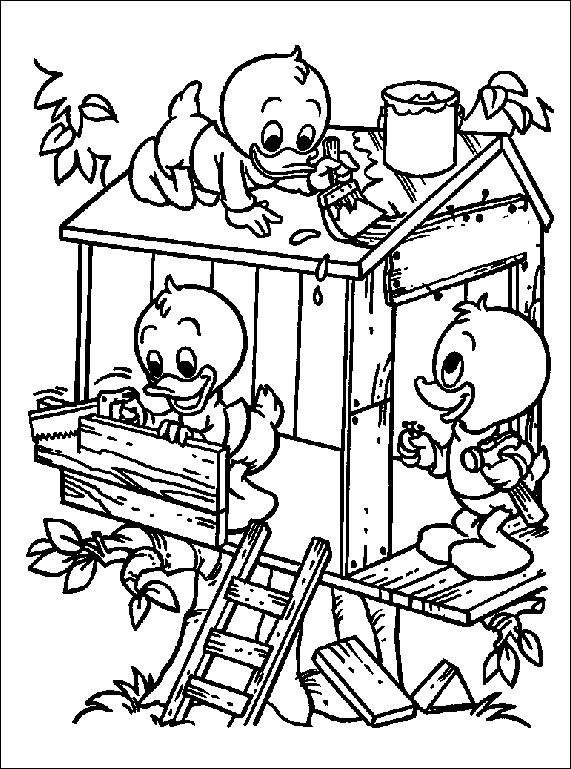 Coloriage et dessins gratuits Les enfants construient une maison dans l'ardre à imprimer