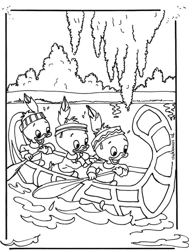 Coloriage et dessins gratuits Les enfants sont dans un canoë à imprimer