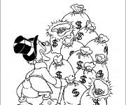 Coloriage Picsou est ravie de la grande somme d'argent