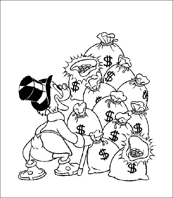 Coloriage et dessins gratuits Picsou est ravie de la grande somme d'argent à imprimer