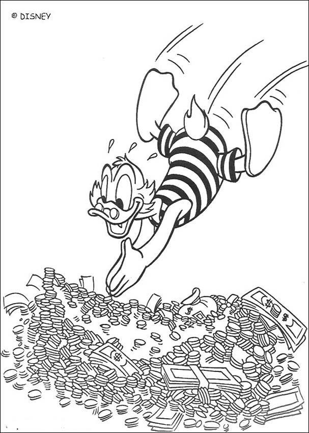 Coloriage et dessins gratuits Picsou nage dans une mer d'argent à imprimer