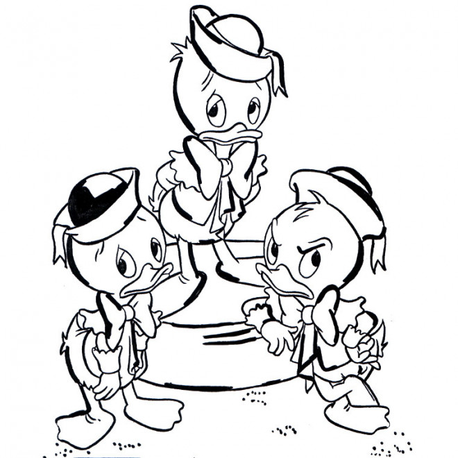 Coloriage et dessins gratuits Riri, Fifi et Loulou sont mécontents à imprimer
