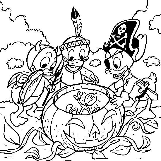 Coloriage et dessins gratuits Riri, Fifi et Loulou trouve une citrouille à imprimer