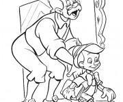 Coloriage et dessins gratuit Gapetto prépare Pinocchio pour l'école à imprimer