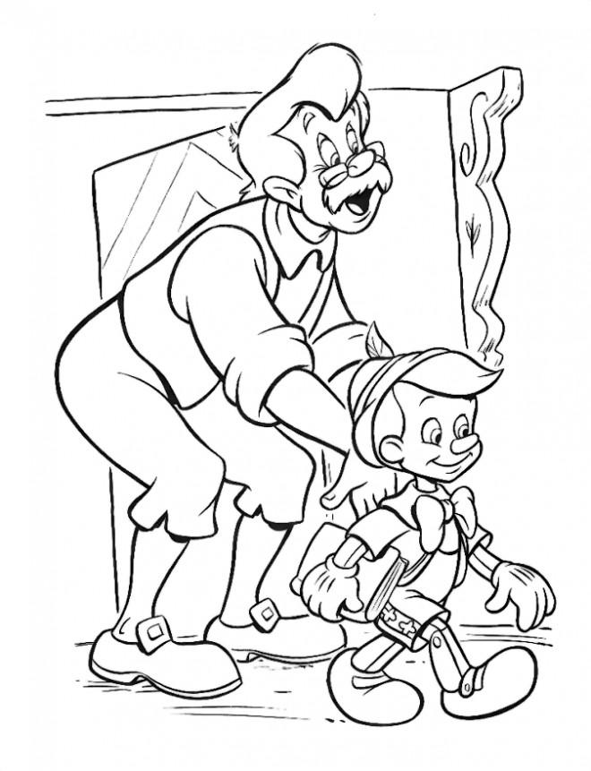Coloriage et dessins gratuits Gapetto prépare Pinocchio pour l'école à imprimer