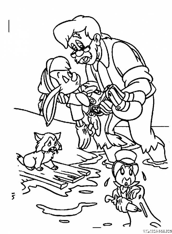 Coloriage et dessins gratuits Gepetto pleure Pinocchio à imprimer