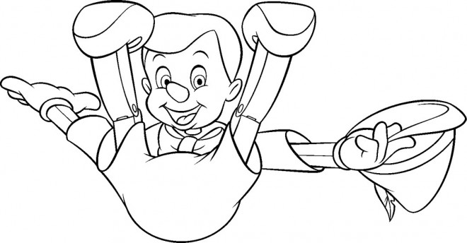 Coloriage et dessins gratuits Pinocchio est tombé par terre à imprimer