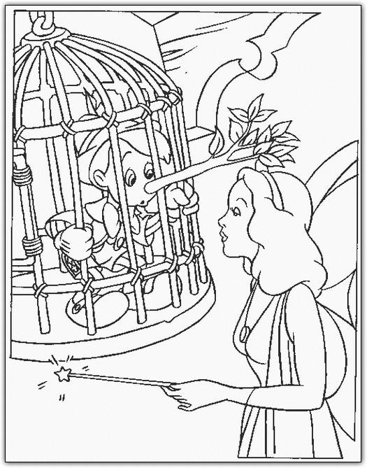 Coloriage et dessins gratuits Pinocchio et la fée Bleue à imprimer