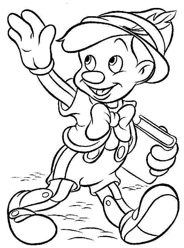 Coloriage et dessins gratuits Pinocchio fait un signe à imprimer