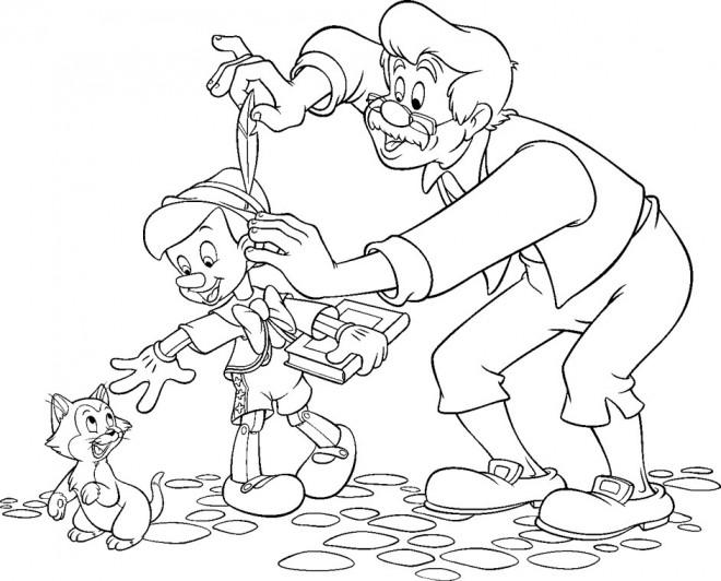 Coloriage et dessins gratuits Pinocchio joue avec Figaro à imprimer