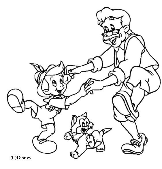 Coloriage et dessins gratuits Pinocchio joue avec son père à imprimer