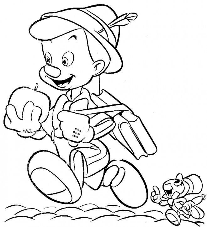 Coloriage et dessins gratuits Pinocchio mange une pomme à imprimer