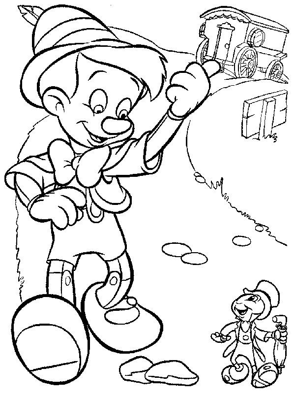 Coloriage et dessins gratuits Pinocchio marche dans la rue à imprimer